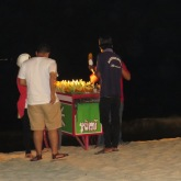 BBQ Corn on the Cob being cooked & sold on the beach